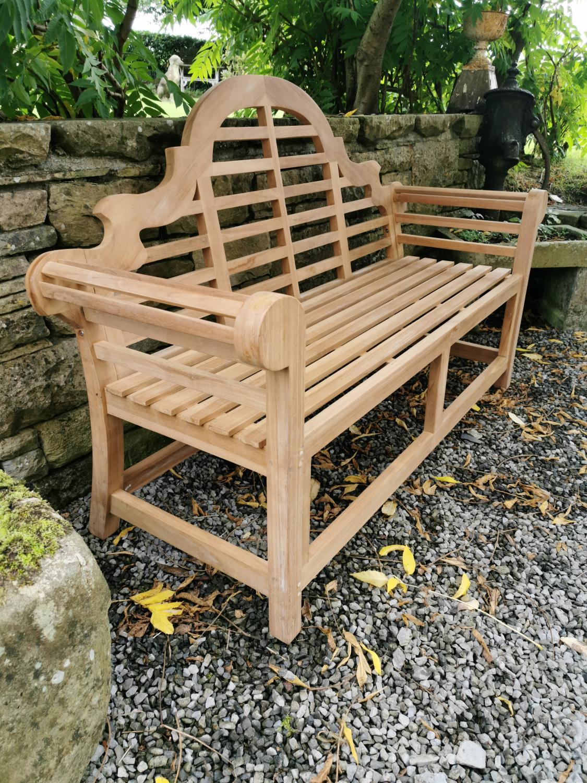 Lutyens teak garden bench. - Image 3 of 4