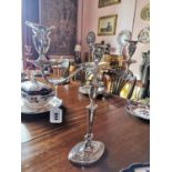 Pair of 19th C. silverplate candelabras.