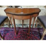 Early 19th. C. inlaid satinwood turn over leaf card table