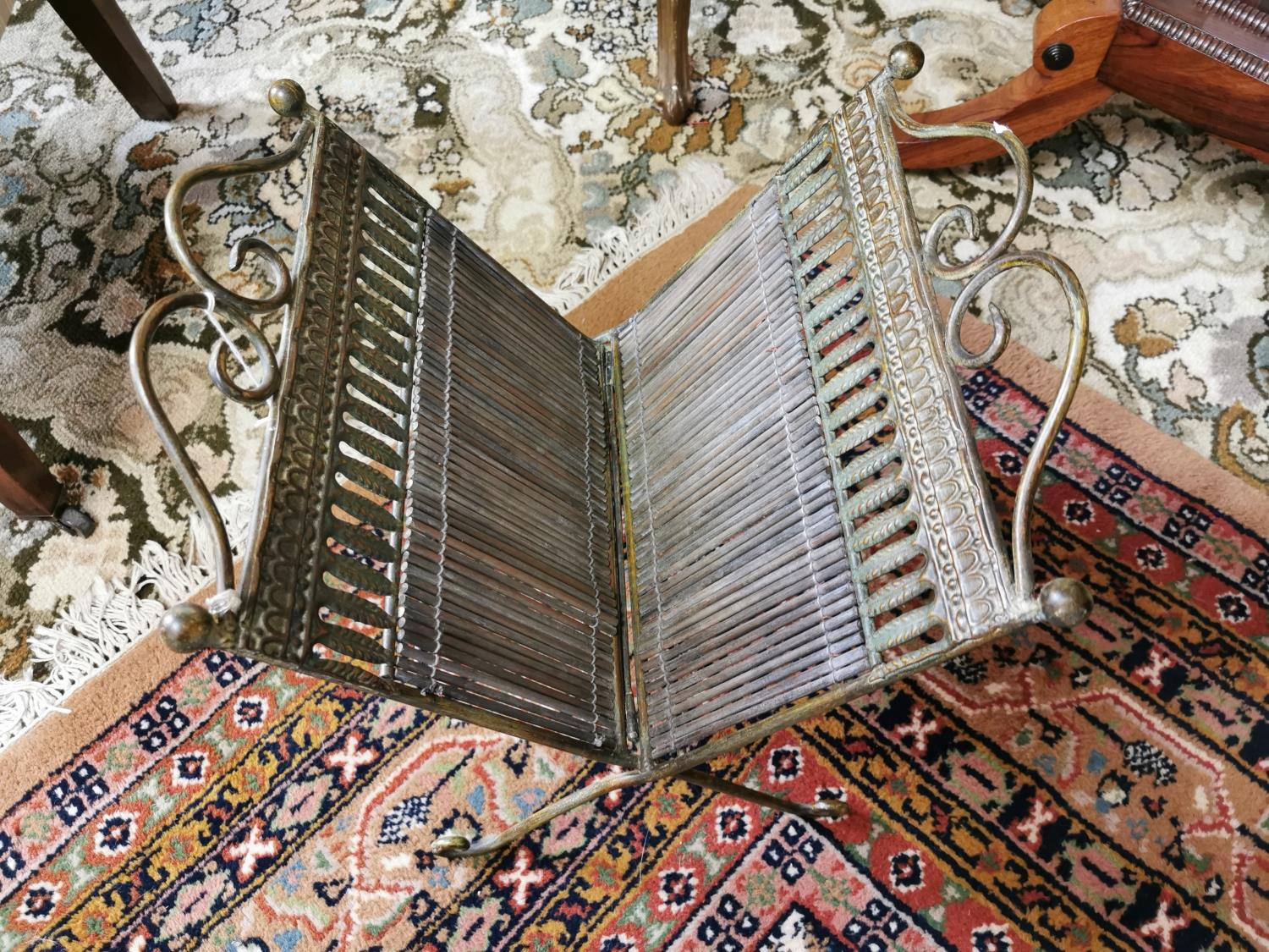 19th. C. brass and cane magazine rack - Image 2 of 2