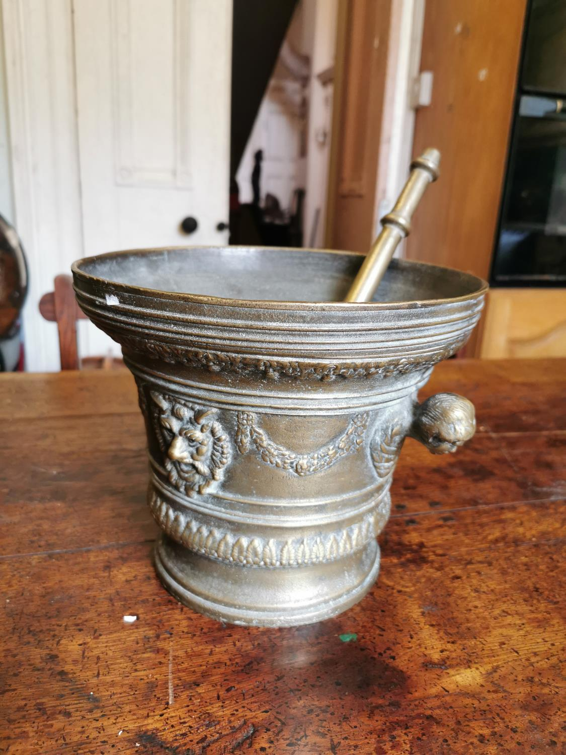 19th. C. brass pestle and mortar