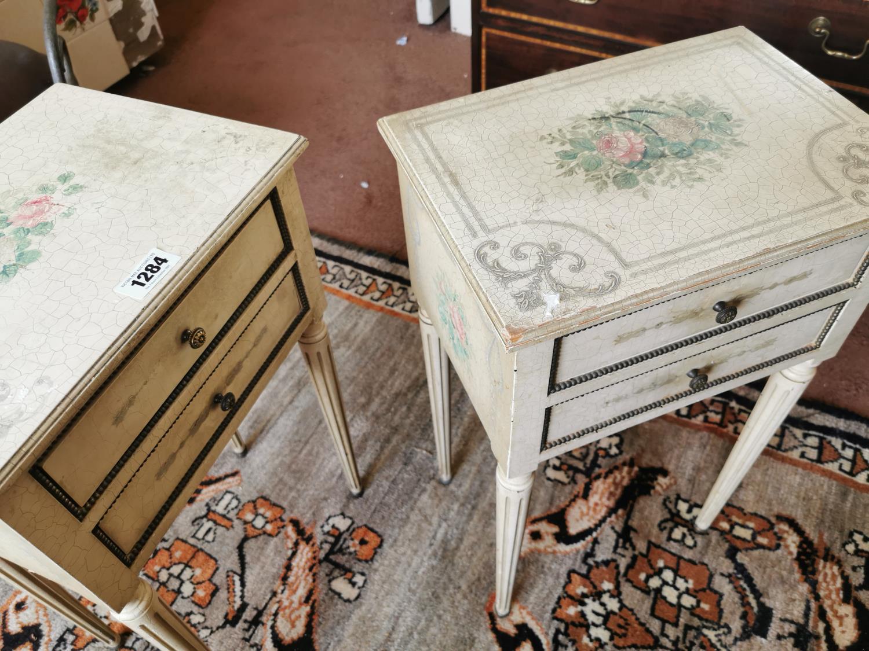 Pair of vintage painted pine bed side lockers. - Image 2 of 2
