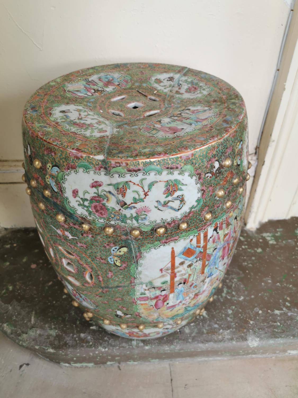 Pair of 19th. C. Oriental ceramic conservatory stools - Image 2 of 3