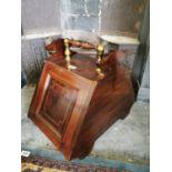 Edwardian inlaid mahogany coal bucket.