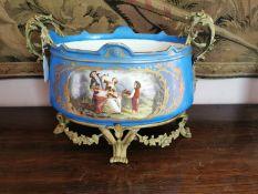 Decorative hand painted ceramic urn.