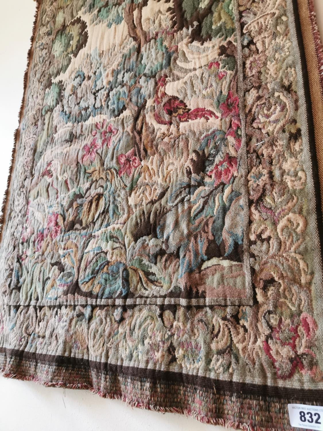 Early 20th C. tapestry Woodland scene. - Image 2 of 2