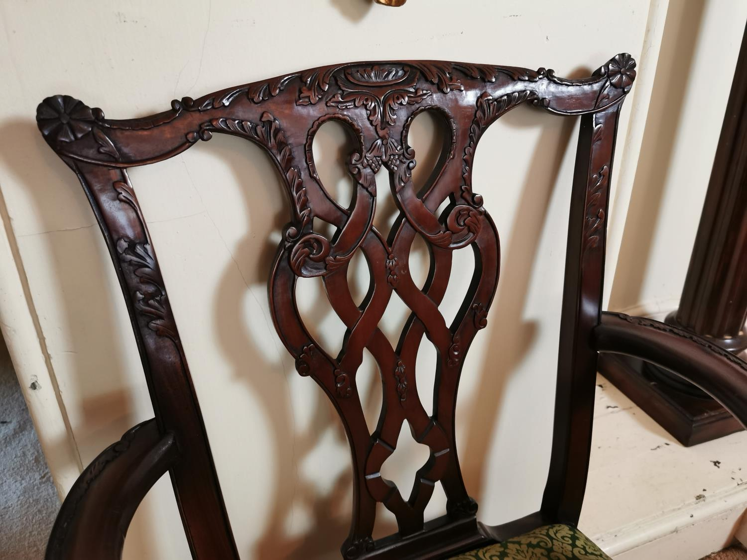 Pair of carved mahogany open arm chairs. - Image 2 of 3