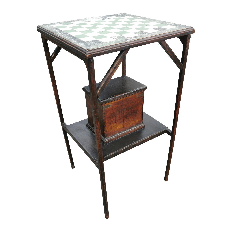 Edwardian mahogany games table.