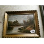 19th. C. Oil on Canvas Cattle Grazing By The River