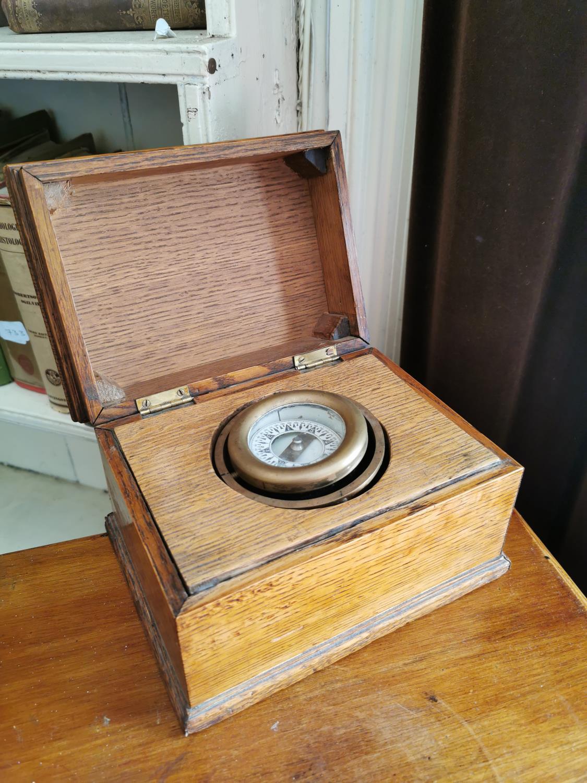19th. C. ship's compass in an oak box