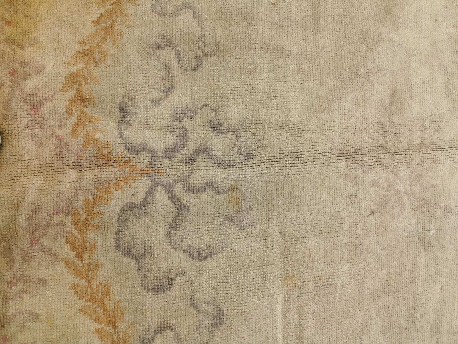 Large early 20th C. hand woven oval carpet. - Image 4 of 6