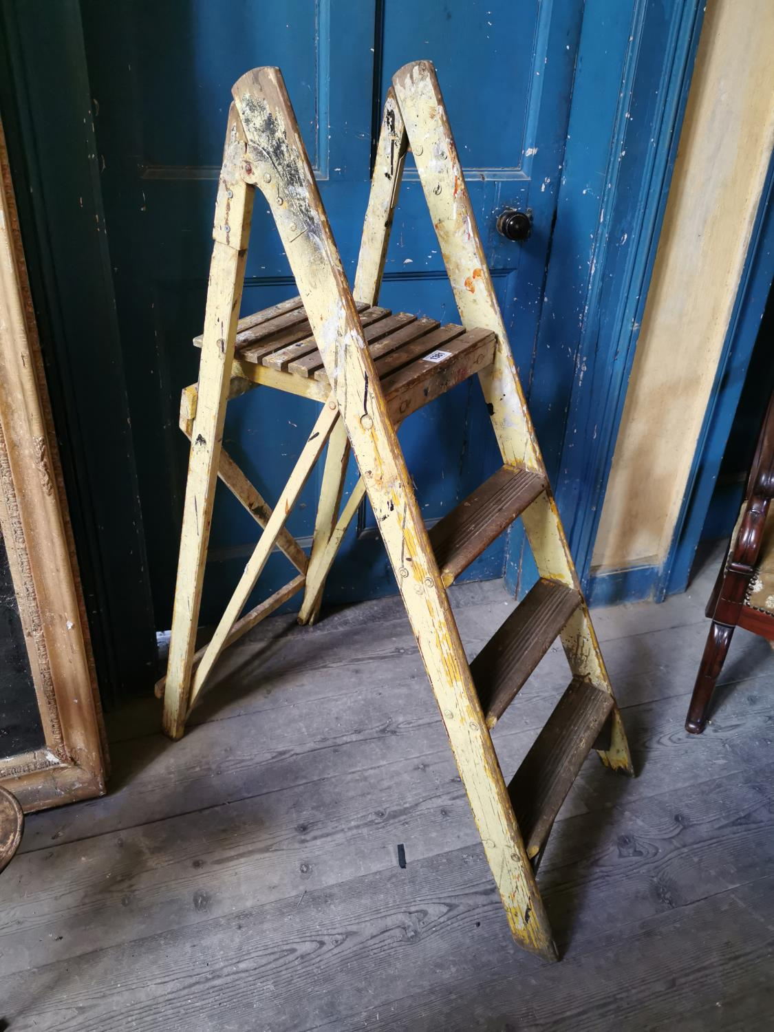 Early 20th C. pine painters ladder.