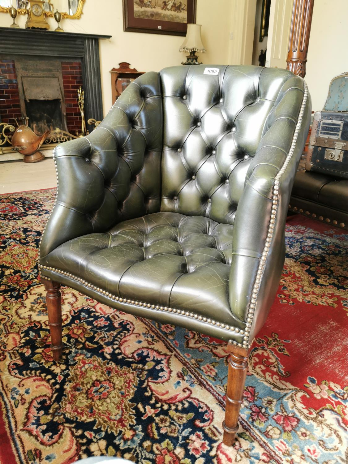Hand dyed leather Chesterfield office chair.