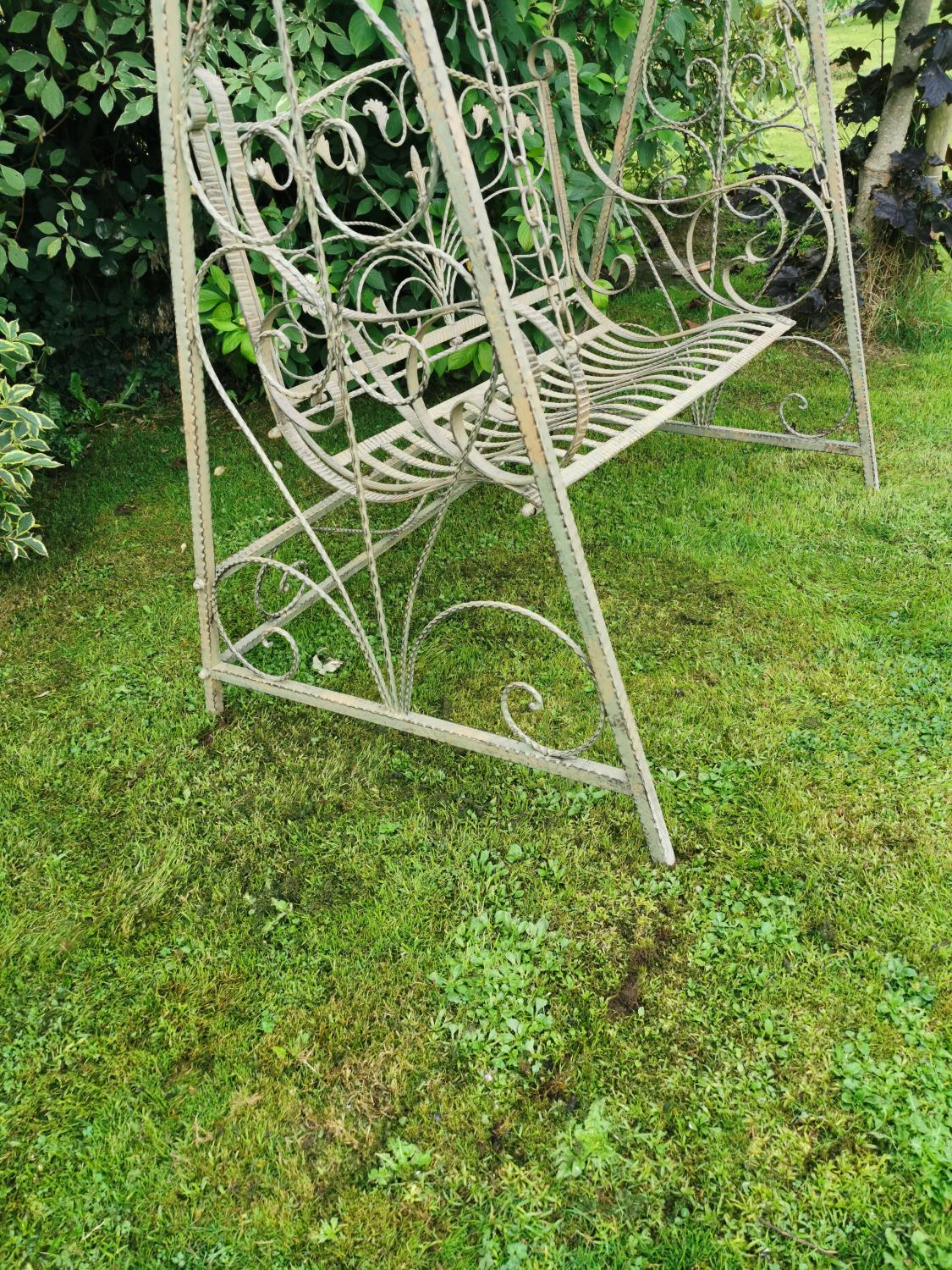 Wrought iron swing bench. - Image 4 of 5