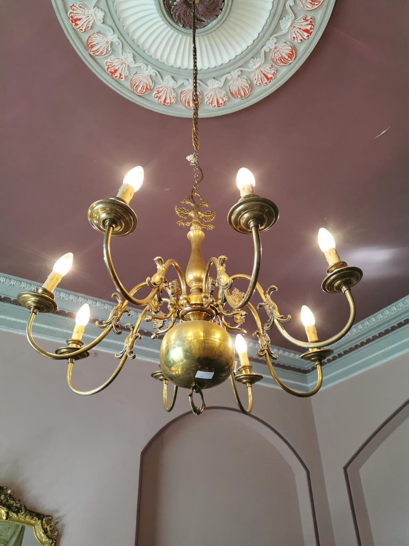Late 19th. C. brass eight branch chandelier.