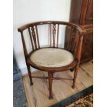Edwardian inlaid mahogany arm chair.