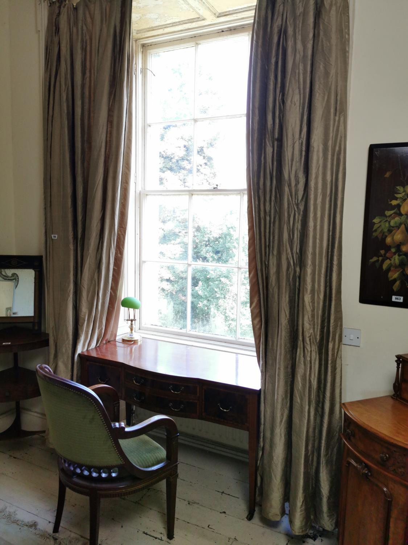 Pair of silk curtains.