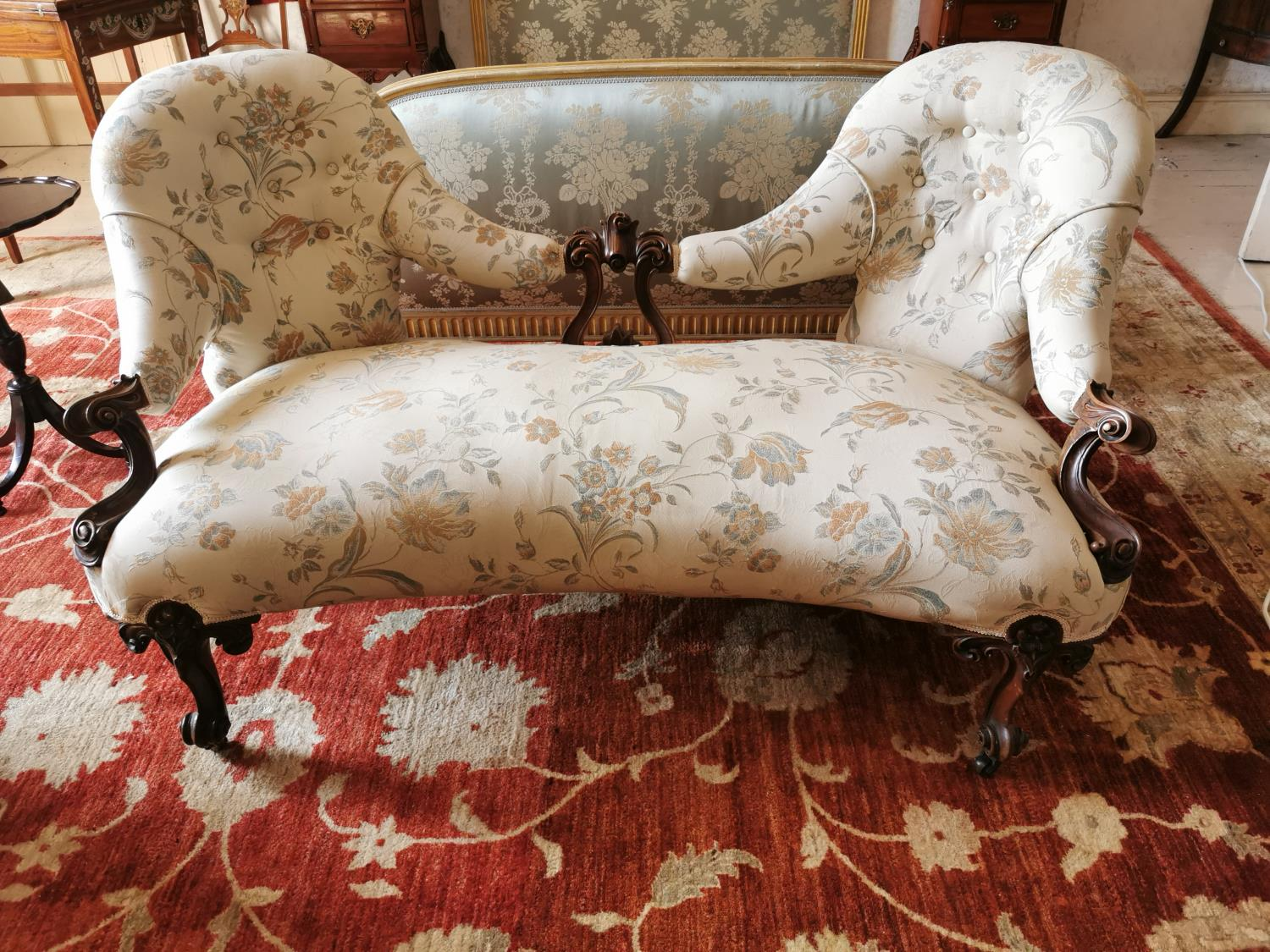 19th C. mahogany and upholstered conversation seat.