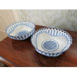 Pair of 19th. C. ceramic sweet meat baskets