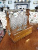 19th. C. oak and silverplate tantalus