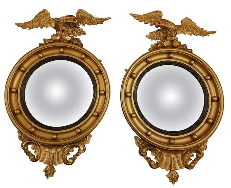 Fine pair of Irish early 19th Century Gilt Convex Mirrors