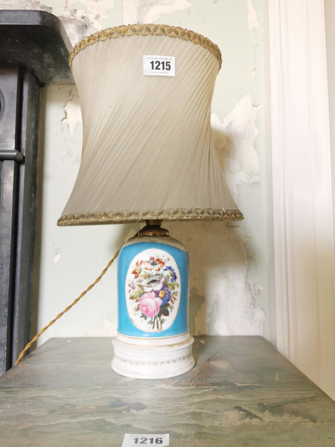 19th C. ceramic hand painted table lamp.