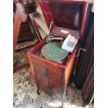 Edwardian inlaid mahogany cabinet gramophone
