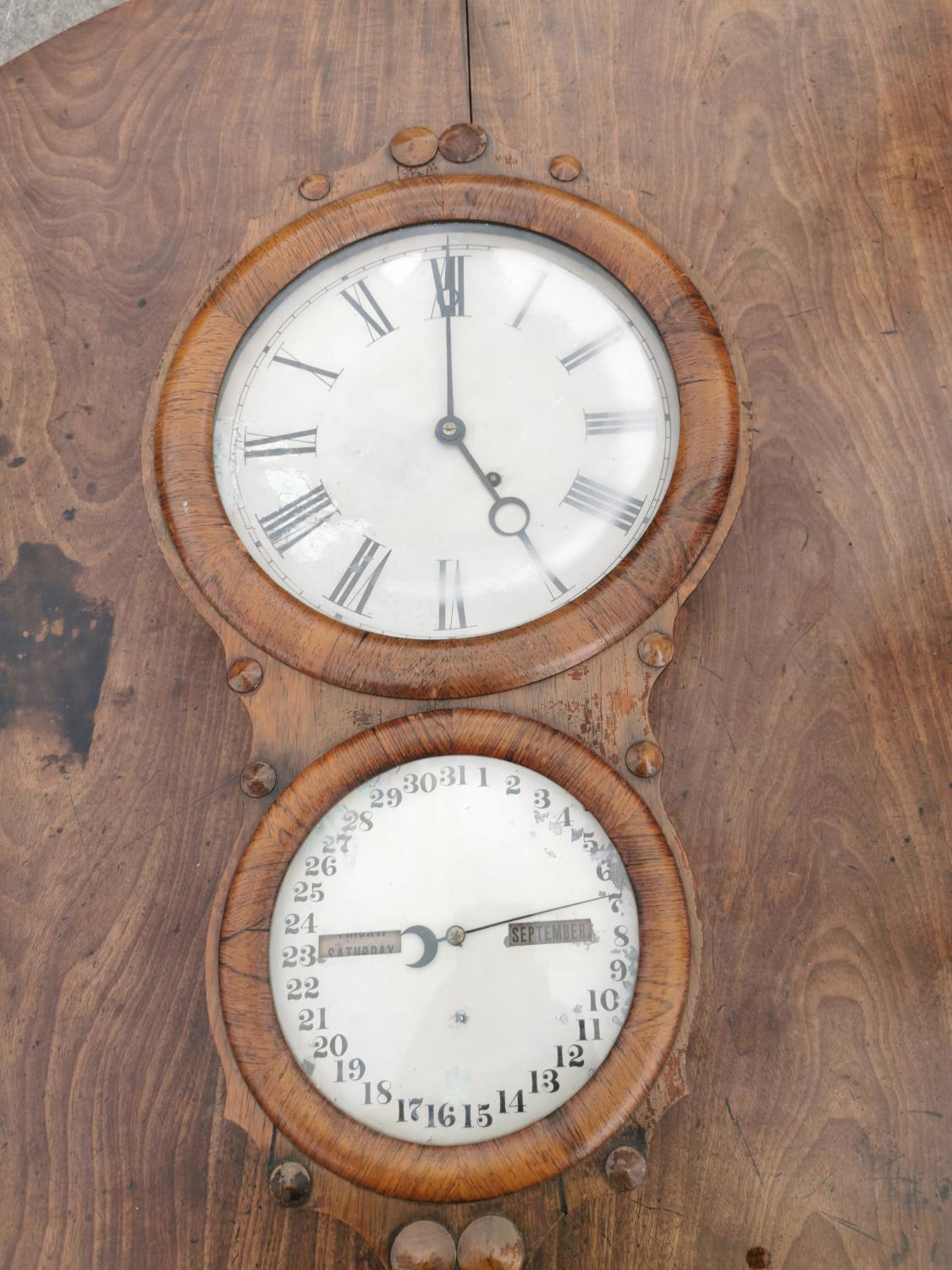 Rare Victorian rosewood institutional wall clock.