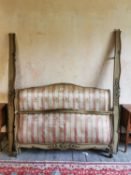 Good quality 19th C. giltwood and painted upholstered French bed {110 cm H x 150 cm W x 230 cm L}.