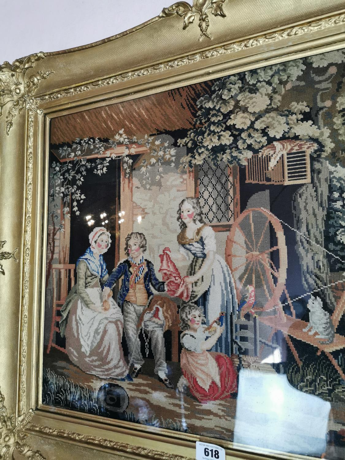 Early 20th C. tapestry Family scene. - Image 2 of 3