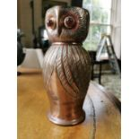 Arts and Crafts copper jug in the form of an owl