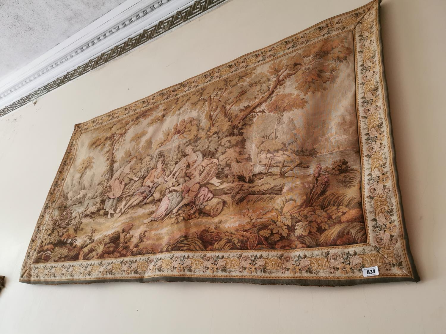 Early 20th C. tapestry Countryside scene.