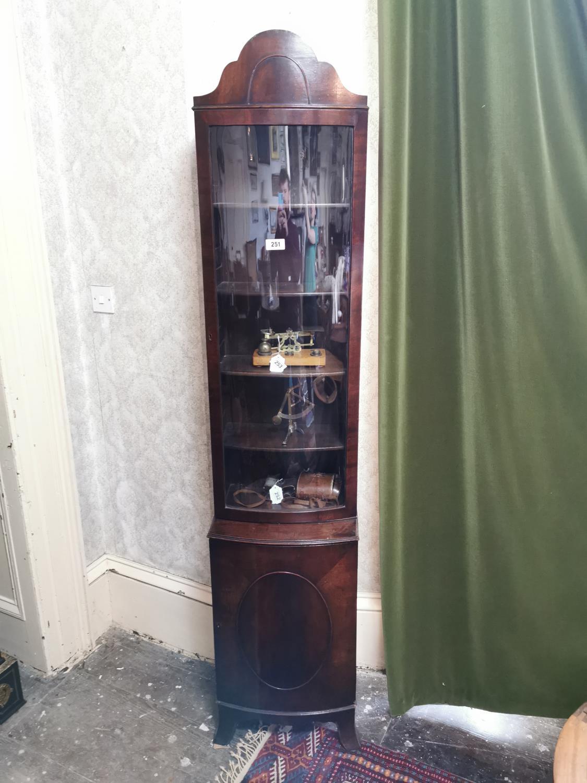 Neat Edwardian mahogany bowfronted bookcase