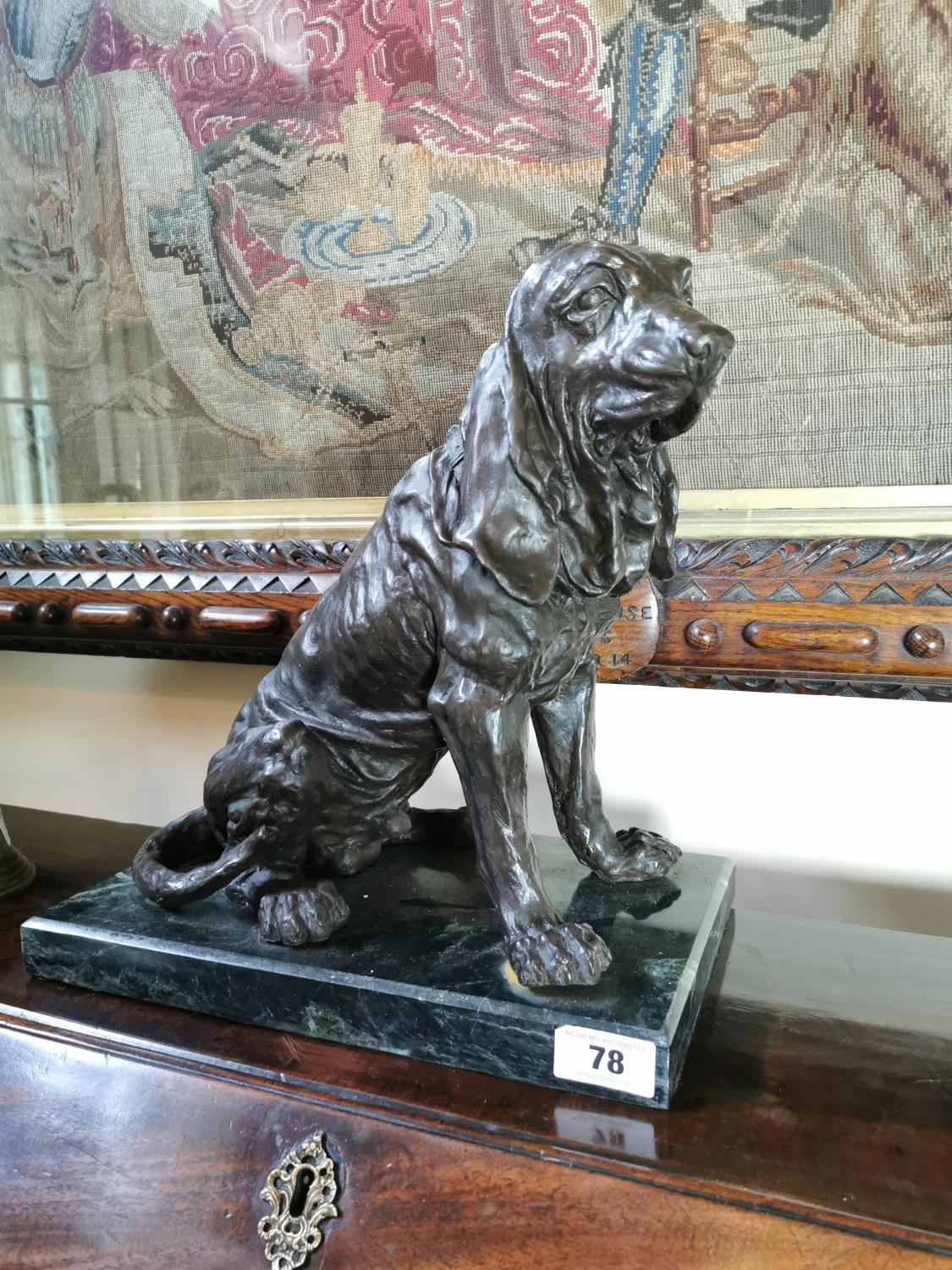 Bronze model of a seated dog