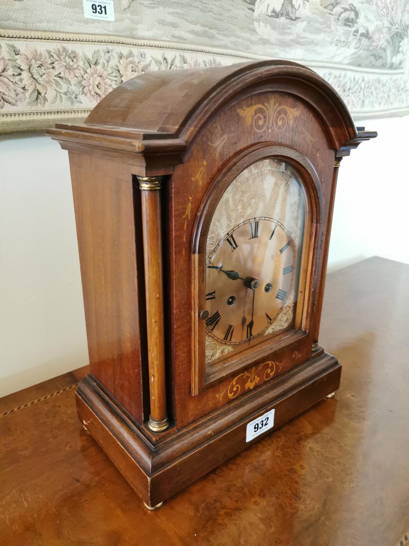 Edwardian inlaid mahogany bracket clock. - Image 3 of 3