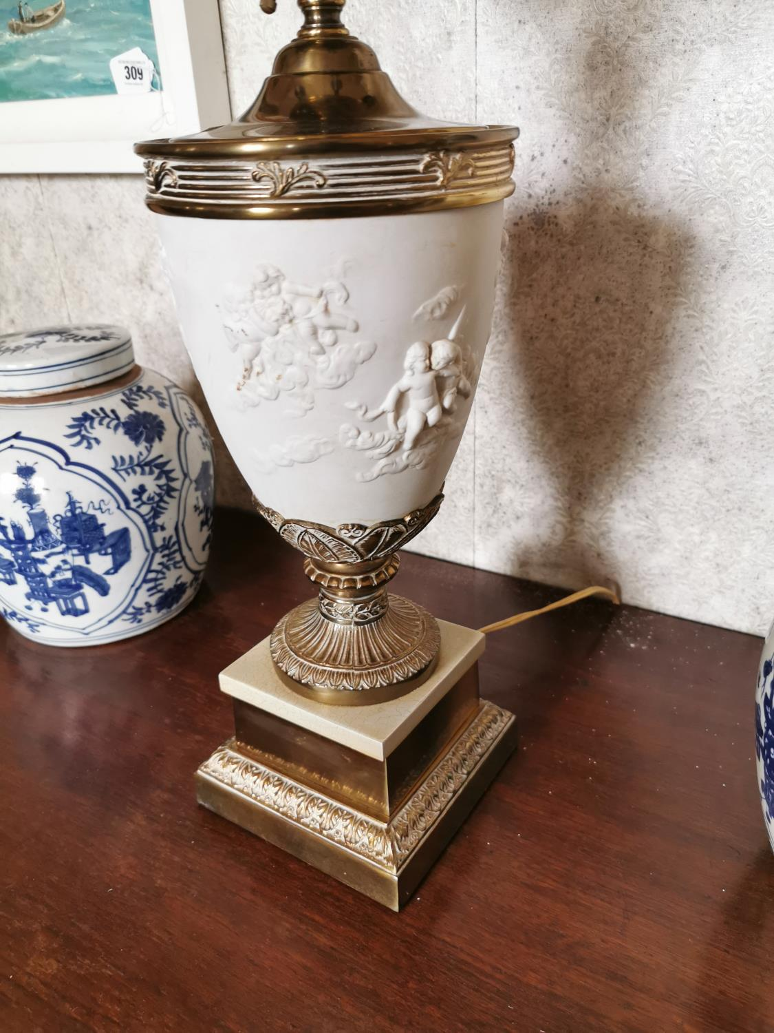 Pair of decorative brass and ceramic four branch table lamps - Image 5 of 6