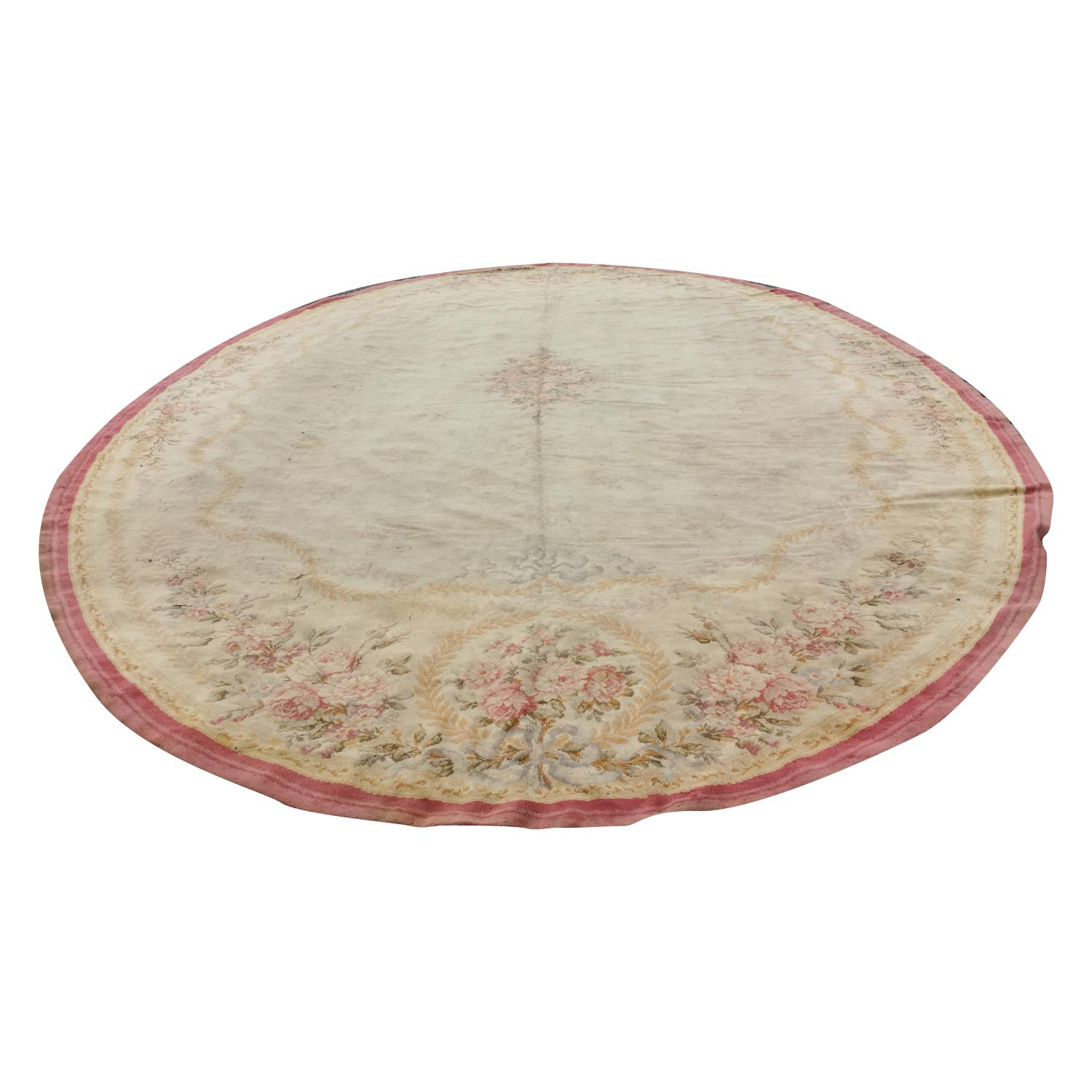Large early 20th C. hand woven oval carpet. - Image 3 of 6