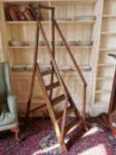 19th. C. oak set of adjustable library steps