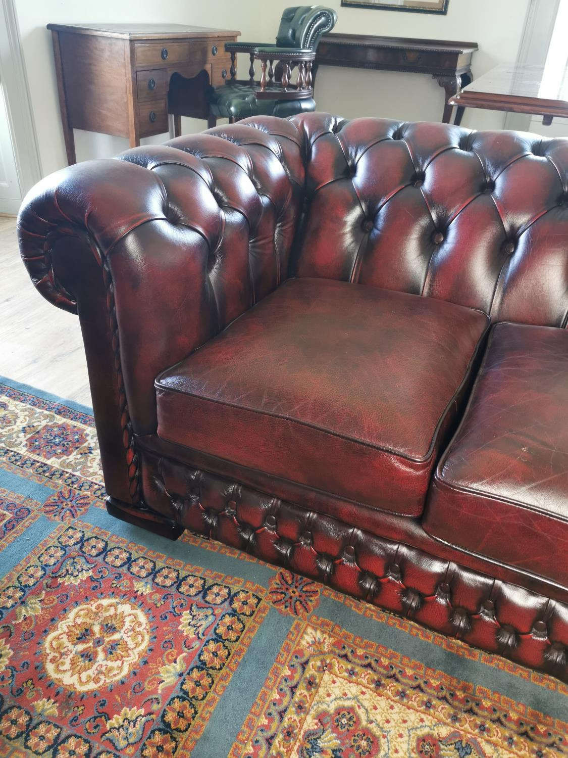 Ox blood leather Chesterfield sofa. - Image 2 of 3