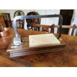 Early 20th. C. metal, marble and wood cheese slicer.