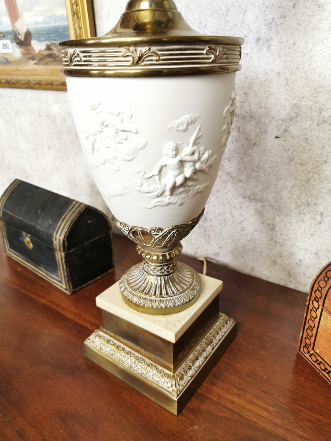 Pair of decorative brass and ceramic four branch table lamps - Image 3 of 6