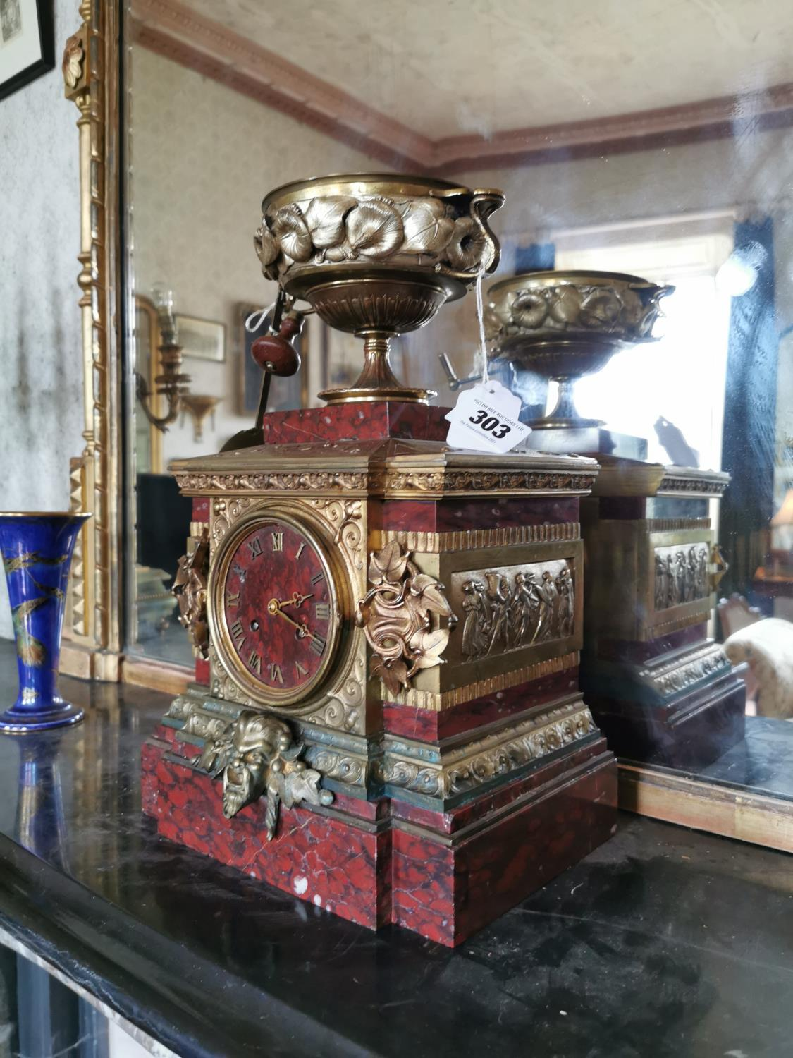 19th. C. rouge marble and gilded brass mantle clock - Image 2 of 2