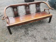 Oriental cherrywood three seater bench