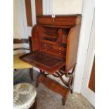 Edwardian inlaid mahogany folding writing desk