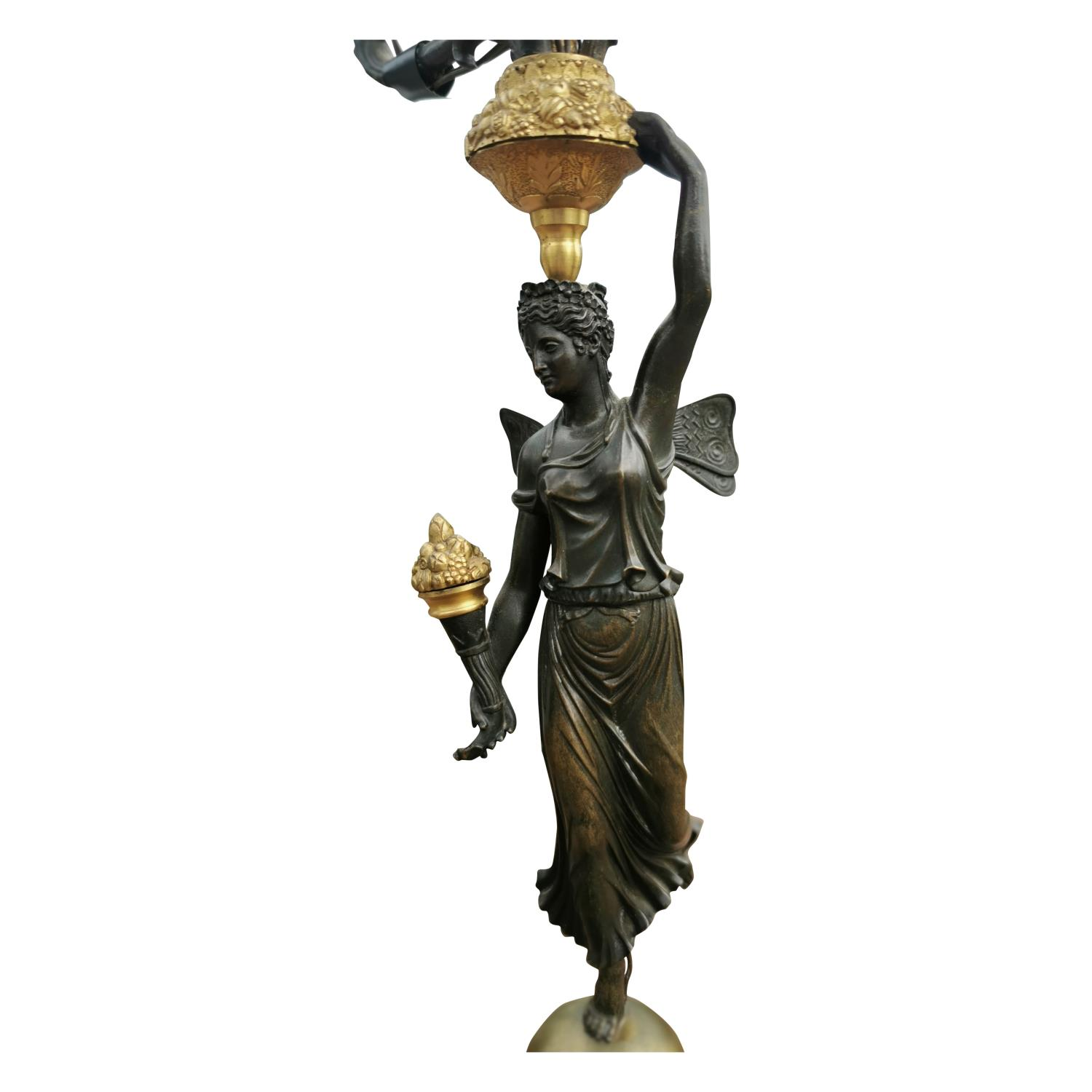 Pair of 19th C. bronze and gilded metal table lamps. - Image 2 of 4