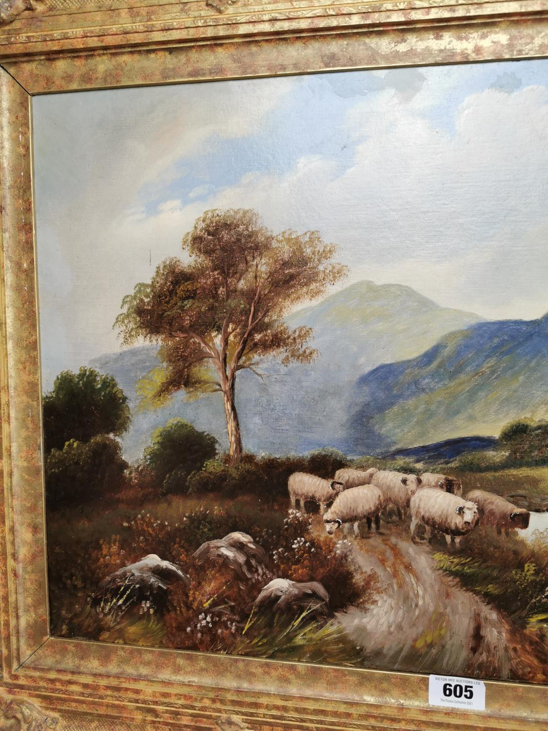 19th C. oil on canvas Mountain and Sheep scene. - Image 3 of 3