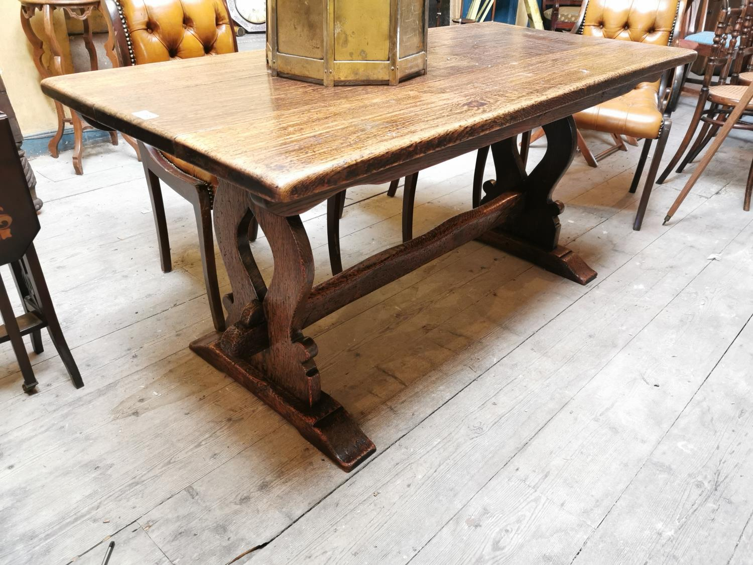 Early 20th C. oak refectory table.