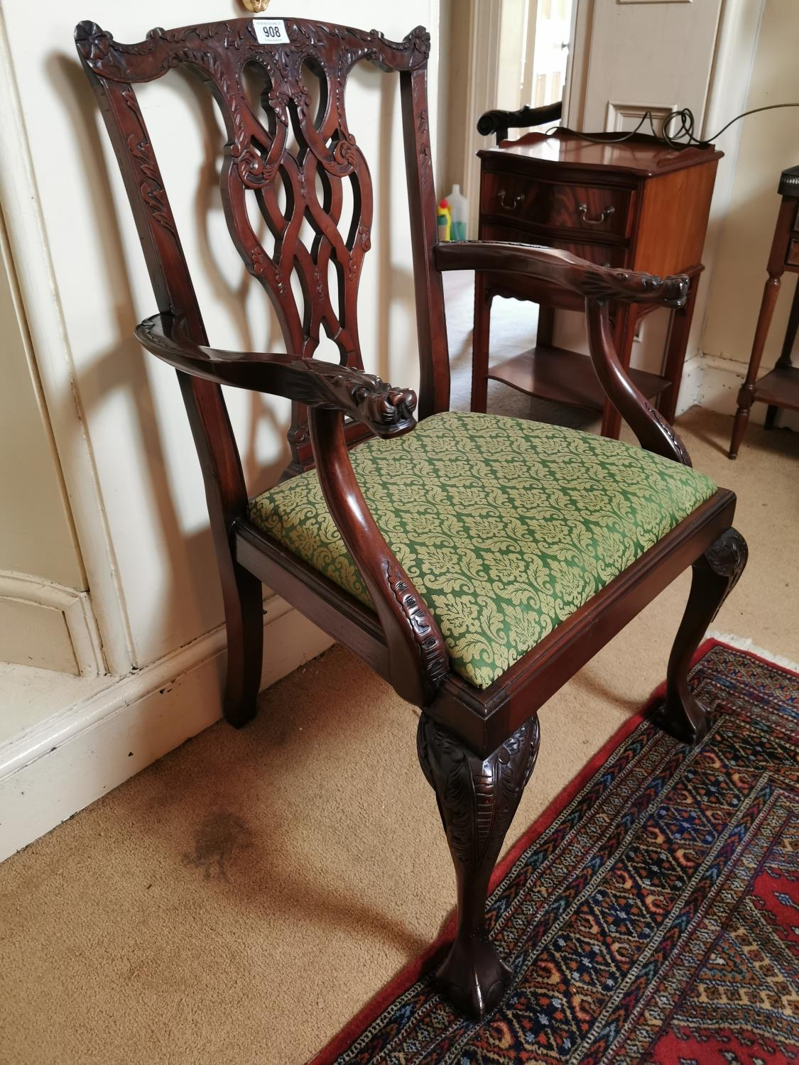 Pair of carved mahogany open arm chairs. - Image 3 of 3