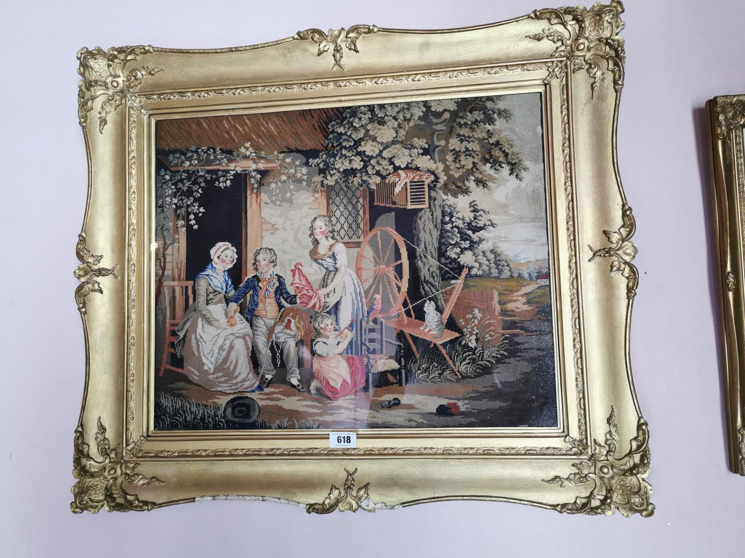 Early 20th C. tapestry Family scene.