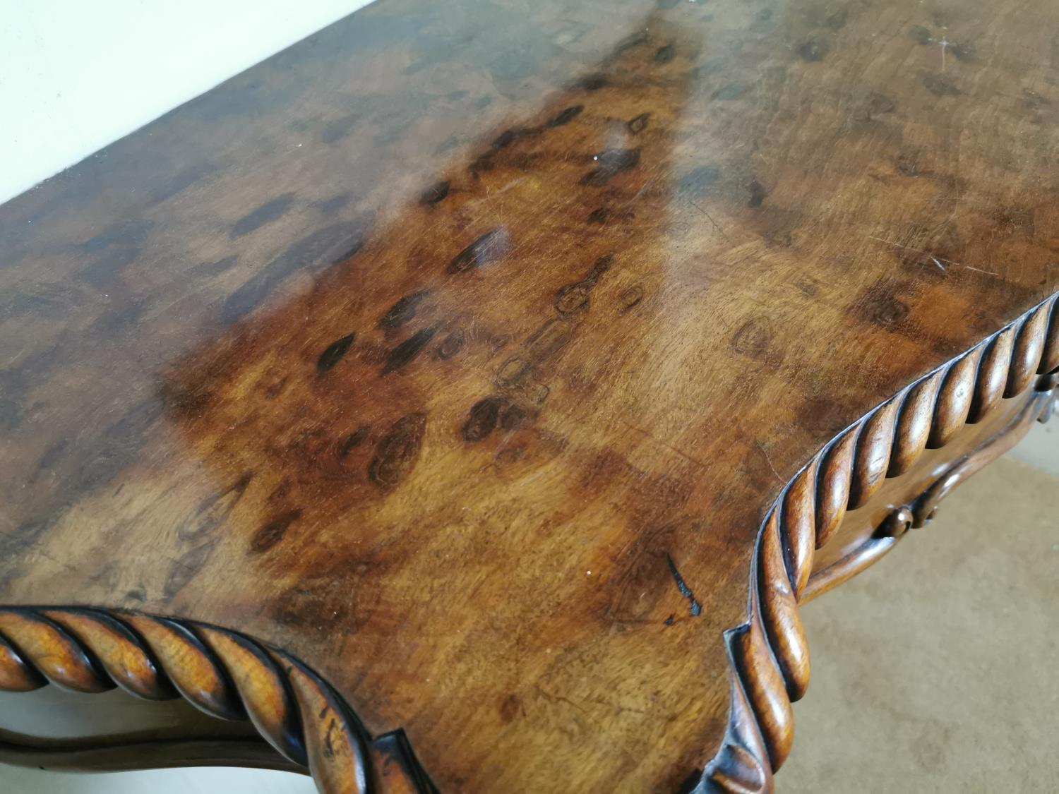 19th C. carved mahogany console table. - Image 5 of 5
